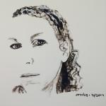 acrylic sketch self-portrait, black and white