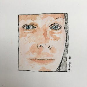 pixelated watercolor self-portrait